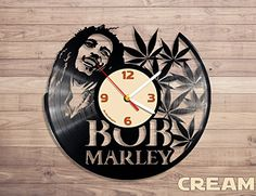 Home accessories – Bob Marley vinyl record wall clock – a unique product by DenisVin on DaWanda Shared by Motorcycle Clothing - Two-Up Bikes Vinyl Record Crafts, Vinyl Record Clock, Record Wall, Vinyl Crafts, Vinyl Art, Vinyl Records, Clock Art, Diy Clock, Bob Marley