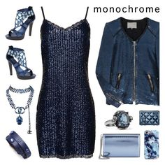 Head To Toe Blue by deepwinter on Polyvore featuring polyvore Mode style Superdry IRO Jean-Michel Cazabat Jimmy Choo Tory Burch Alexander McQueen Chanel fashion clothing monochrome