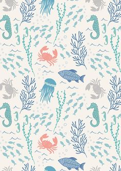 In the Sea on White  A78.1  COASTAL  Lewis and by MoonaFabrics
