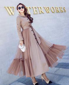 #Women's#Net#Yarn#Splicing#Dress#Casual#Dress#Long#Skirt C59