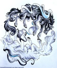 Yin and Yang Wolves by Lucky978.deviantart.com on @deviantART