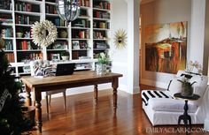 Great lighting + great design and space + bookcases = awesome home office!