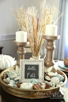 Coastal Casual Fall Tablescape - Dining table centerpiece - artsychicksrule Coastal Casual Fall Tablescape - use what you have, add a few thrifty finds and a little paint for FALL decor on a budget! Apartment Decoration, Decoration Bedroom, Decoration Table, Room Decorations, Fall Home Decor, Autumn Home, Fall Dining Table, Dining Tables, Dining Room Table Centerpieces
