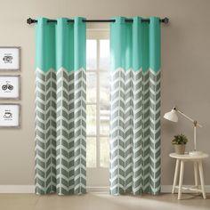 Intelligent Design Rayna Chevron Printed Grommet Top Curtain Panel Pair (42x63 (2)-Aqua), Green, Size 42 x 63