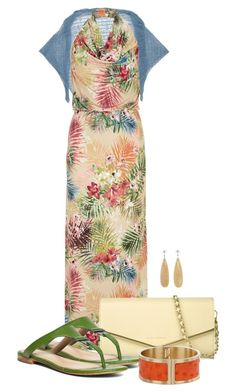"""""""Printed Maxi Dress"""" by cathy0402 ❤ liked on Polyvore featuring Adele Fado, Amy Childs, CHARLES & KEITH, Brooks Brothers, Cathy Waterman and Brahmin"""