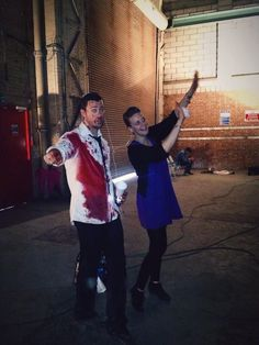 Dan Feuerriegel and Emma Slater on the set of #Cryptic