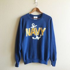 Vintage Navy Sweatshirt Super cozy pullover, lightly faded and in great condition!  BRAND: Healthknits MATERIAL: 50/50 YEAR/ERA: 80s LABEL SIZE: XL BEST FIT: S/M  MEASUREMENTS: Chest Length  ☠ No trades  Check out my closet for more vintage! Vintage Tops Sweatshirts & Hoodies