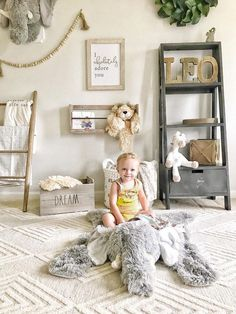 Shop ClaraLoo Elephant Rug and Lion Lovey Nursery Decor for safari nursery