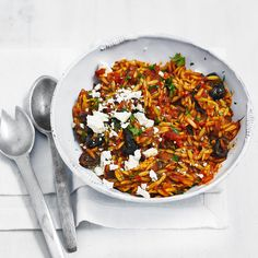Orzo makes a nice change to the regular midweek bowl of pasta and this Mediterranean style recipe is a great quick dinner for vegetarians.