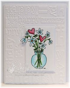 *** stamping general*** Inspiration Blooms: From The Heart Stamps Birthday Card Set