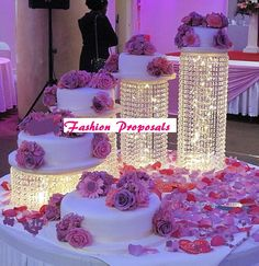 Asian Wedding Acrylic Crystal Cake Stands 4 tiers or Towers. Our crystals cake stands are stunning and elegant, will be the Attraction of the