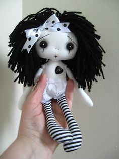 "OOAK Handmade Collectible Goth Punk Emo Art Artist 9"" Heart Gothic Rag Doll JAZZ 