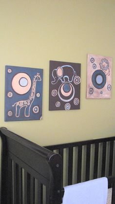 ELEPHANT JUNGLE PAINTING, nursery decor for baby or children's room
