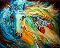 """Contemporary painting of an Indian War Horse with paint markings on its body and feathers in its mane - """"Breaking Dawn Indian War Horse"""" wall art by Marcia Baldwin from Great BIG Canvas Horse Wall Art, Horse Artwork, Horse Paintings, Oil Paintings, Arte Equina, Native American Horses, Native American Paintings, Indian Horses, Horse Drawings"""