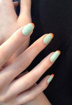 Mint + Orange french manicure #nail #art