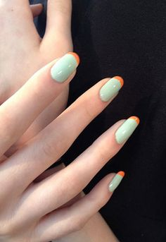 Mint + Orange french manicure #nail #art