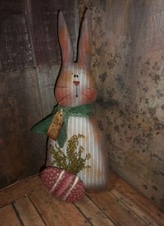 ** Primitive 17x7.5in X-LG BUNNY - RABBIT striped rusty doll w/EGG ** #NaivePrimitive