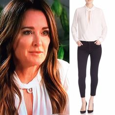 Kyle Richards' White Twist Neck Top at Lunch with Dorit http://www.bigblondehair.com/real-housewives/kyle-richards-twist-neck-keyhole-blouse/ Real Housewives of Beverly Hills Fashion
