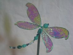 Wire & crystal draginfly with Angelina wings