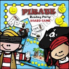 "Pirate Party Board Game (CVC Words and Sight Word Sentences) from TeacherTam on TeachersNotebook.com -  - I created this engaging, pirate-themed board game just for budding readers. It comes with 2 sets of cards: CVC words (all 5 short vowel sounds are represented) and beginning sight word sentences like ""I see a cat."" There are 20 cards in each set. This gam"