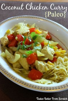 Slow Cooker Coconut Chicken Curry served with spaghetti swuash