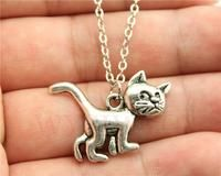 Simple vintage antique silver, antique bronze color cute cat pendant necklace