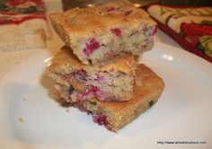 Berry Blondies OR Choc Strawberry Blondies (gluten free, low carb)  [modify, use:  1 1/2 C. my bake mix,  1 stick (8Tbl) butter, (softened),  1/2 C. sweetener, stevia,  3 large eggs,  1 tsp. baking powder,   1/2 tsp. salt,  1/2 tsp. konjac flour,   1 C. dried strawberries, and either 1 c dried blueberries OR 1/3 c choc chips]