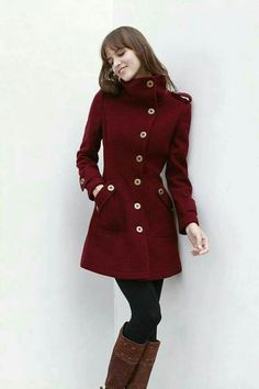 Wine Red Cashmere Coat Fitted Military Style Wool Winter Coat Women Coat Long Jacket - from Sophia Clothing on Etsy. Saved to Things I want as. Winter Coats Women, Coats For Women, Winter Jackets, Mode Mantel, Military Fashion, Military Style, Military Coats, Military Jacket, Image Fashion