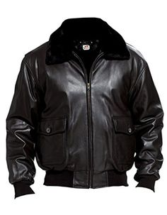 Sputer Navel Militery Black Bomber Leather Jacket for Men...