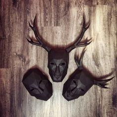 #paper #papier #papercut #papercraft #pepakura #vector #design #sculpture #lowpoly #polygon #mask #papermask #stag #deer #Beaumanoir