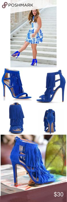 """NWT. Cobalt blue fringe heels NWT. Cobalt blue fringe heels. Fringe detailing, straps design, faux-suede, open toe, back zipper closure, padded footbed, 4.75"""" heel. Comes in the original box. Sorry, no trades. Like the item but not the price, feel free to make me a reasonable offer using the offer button below. Candie's Shoes Heels"""