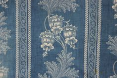 Antique French indigo blue resist dyed cotton fabric printed material STUNNING ~