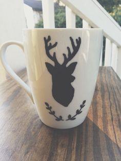 deer head hand painted coffee mug