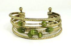 Vintage Multistrand Bracelet, Gold Tone 7 Strand Bangle, Green Tiger Eye Bead Cuff