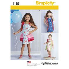 This pillowcase dress pattern features contrast straps with bow and option of dress with contrast center front panel, contrast front or contrast hip ruffles. Simplicity sewing pattern from My Childhood Treasures.