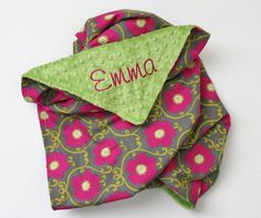 PERSONALIZED Baby Girl Minky Stroller Blanket by firstcrushdesigns, $17.00