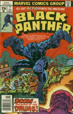 Black Panther comic book cover, 1977 Cover art: Jack Kirby Source: My Comic Shop Marvel Comics, Marvel Comic Books, Comic Books Art, Comic Art, Heroes Comic, Marvel News, Marvel 3, Horror Comics, Dc Heroes