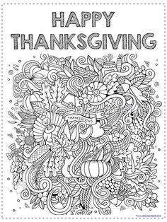 These free Thanksgiving color pages are perfect for
