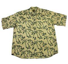 Vintage 1990s Gold/Green Palm Tree Print Silk Button Up Hawaiian Shirt Mens XL