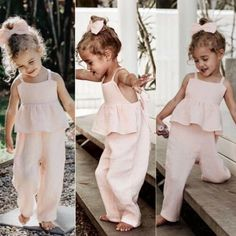 Toddler Kids Baby Girl Clothes Solid Color Holiday Overall Ruffle Bandage Baby Girl Hairstyles Baby Bandage clothes COLOR girl Holiday Kids Ruffle Solid Toddler Girls Summer Outfits, Little Girl Outfits, Little Girl Fashion, Summer Girls, Baby Girl Fashion Clothes, Cute Kids Outfits, Cute Baby Girl Clothes, Outfit Summer, Summer Clothes