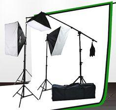 Fancierstudio UL9004SB-69BWG 2000 Watt Photo Studio Lighting Kit With 6-9 Feet Muslin Backdrop and Background Stand-Black White
