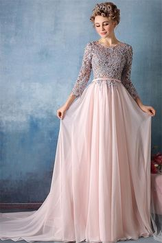Elegant Evening Dress Chiffon A Line Robe De Soiree Full Sleeve Party Gowns Vestidos Para Festa Long Evening Dresses Court Train Evening Dresses With Sleeves, Evening Dresses Online, A Line Prom Dresses, Cheap Prom Dresses, Evening Gowns, Formal Dresses, Dresses 2016, Dress Prom, Dress Online