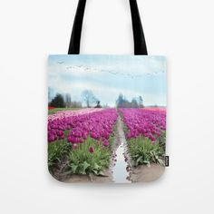 www.sylviacookart.com nature, tulips, Washington, Skagit valley, flowers, colorful, field, landscape, birds #tulips #tote