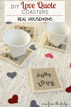 DIY Bookpage Love Quote Coasters  |  View From The Fridge