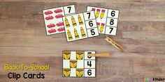 These Back-to-School Counting Clip Cards are a fun and hands-on way to practice counting and identifying numbers at the beginning of the year. Kindergarten Readiness, Kindergarten Teachers, Teaching Calendar, School Must Haves, Teaching Numbers, Learning Through Play, Teaching Strategies, Preschool Learning, Infant Activities