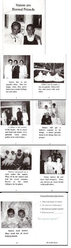 "FLDS Reading Primer, Alta Academy. ""Sisters are Eternal Friends"" talks about ""sisters"", but clearly refers to Sister-Wives, as ""Father"" is both the term children use to refer to their male parent, and the term women use for their husband. It is made clear in this text that ""Father"" will only allow women to do what he considers ""proper"". The first comprehension question is ""Who is Master of a Home?"" Full copy here…"