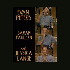 american horror story - evan peters, sarah paulson, jessica lange