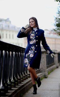 Верхняя одежда ручной работы. Ярмарка Мастеров - ручная работа. Купить Пальто приталенное Синяя птица (Русский фасон). Handmade.