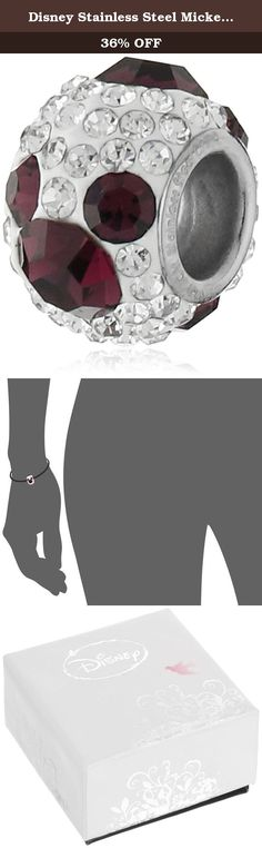 "Disney Stainless Steel Mickey February Crystal Birthstone Bead Charm. charm: 0.44""H x 0.32"" W. Imported."