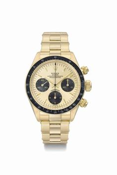 Rolex. A very fine and rare 18k gold chronograph wristwatch with bracelet, box and guarantee. Circa 1986 #ChristiesWatches